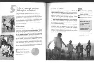 Perhe muodostuu siitä, ketkä syö samasta jääkaapista. Näin tuleville sukupolville opetetaan koulussa. Kuva Otavan kustantama oppikirjasta alakoululaisille: Forum yhteiskuntaoppi (2016). Sivunumerot 36-37. Tekijät Hämäläinen, Kohi, Päivärinta, Turtiainen ja Vihervä.